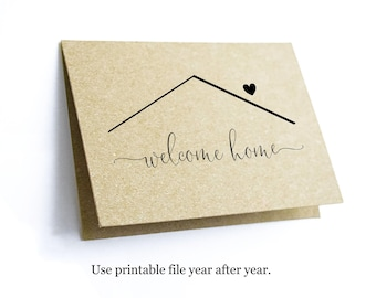 Printable Welcome Home Card Template, Blank Folded New Home Notecard, Realtor Real Estate Agent Stationery Note Instant Download Digital PDF