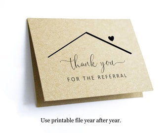 Printable Home Referral Thank You Card Template, Thanks for the Referral Realtor Real Estate Agent Note, Blank Folded Notecard, Download PDF
