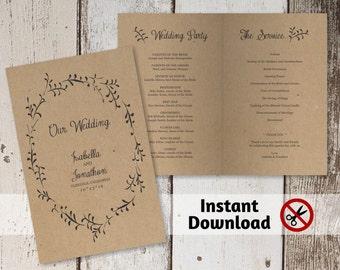 Printable Wedding Program Template - Folded Program - Rustic Foliage Winter Wreath on Kraft Paper | Editable PDF Instant Download | Booklet