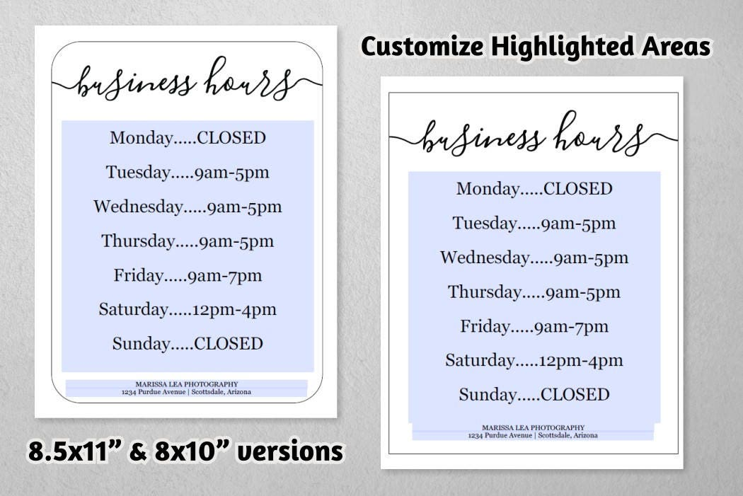 Business Hours Sign Printable Template Hours Of Operation