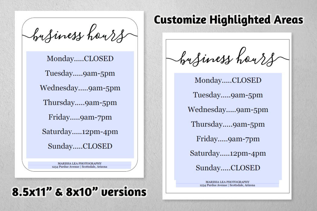 Business hours sign printable template hours of operation gallery photo gallery photo gallery photo gallery photo gallery photo cheaphphosting Choice Image