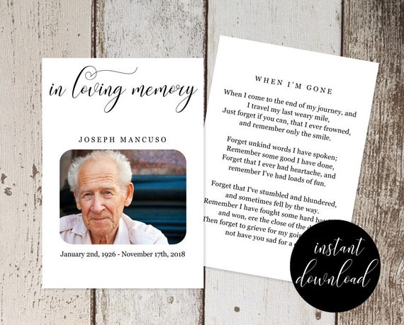 Funeral Prayer Card Template Printable Memorial Service Memoriam Obituary Remembrance Catholic Mass Card Instant Download File Pdf