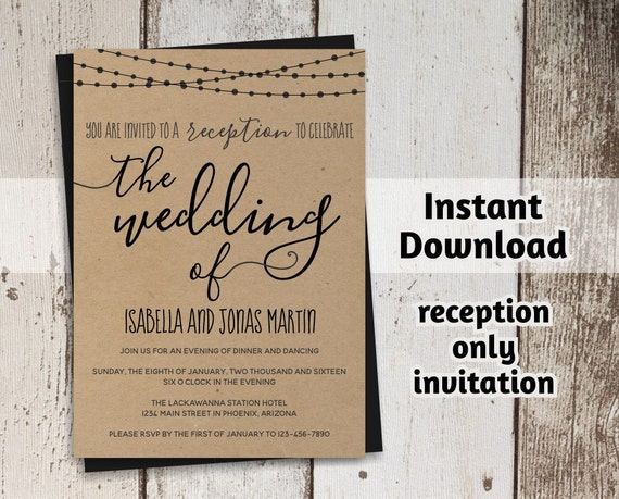 Reception Invitation Template | Reception Only Invitation Template Rustic Printable Wedding Etsy