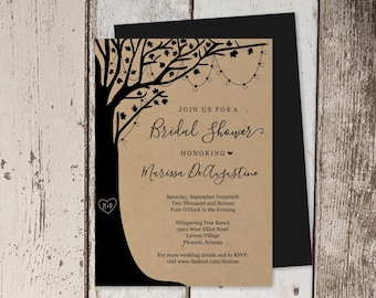 Rustic Tree Bridal Shower Invitation Template - Printable Invite - Carved Initials, Heart, Wood, Fairy Light - Instant Download Digital File