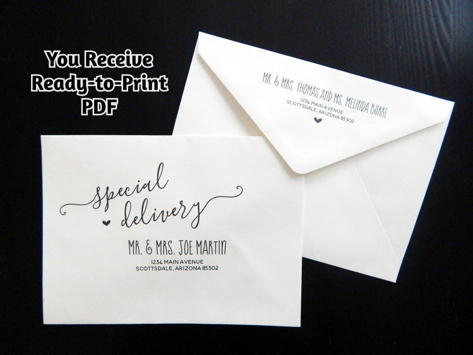 Ready To Print Wedding Invitations: Wedding Envelope Addressing Service