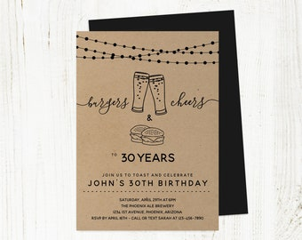 Burgers Cheers Beers Birthday Invitation Template, Men Guy Adult Brewery Party Invite Instant Download, 21st 21 30th 30 40th 40 50th 50 Year