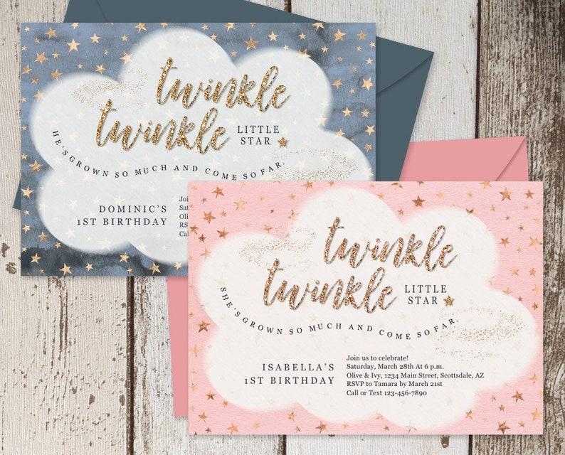 Printable Twinkle Little Star Invitation Template