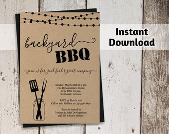 Printable Backyard BBQ Invitation Template - Barbeque Party, Barbecue - Rustic Mason Jar, Kraft Paper - Instant Download Digital File PDF