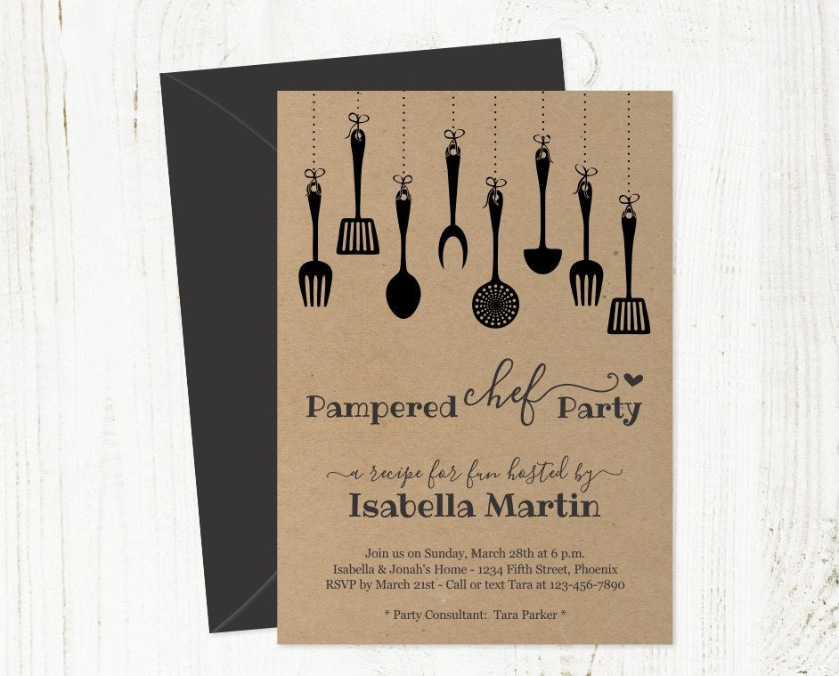 pampered chef party invitation template printable rustic. Black Bedroom Furniture Sets. Home Design Ideas