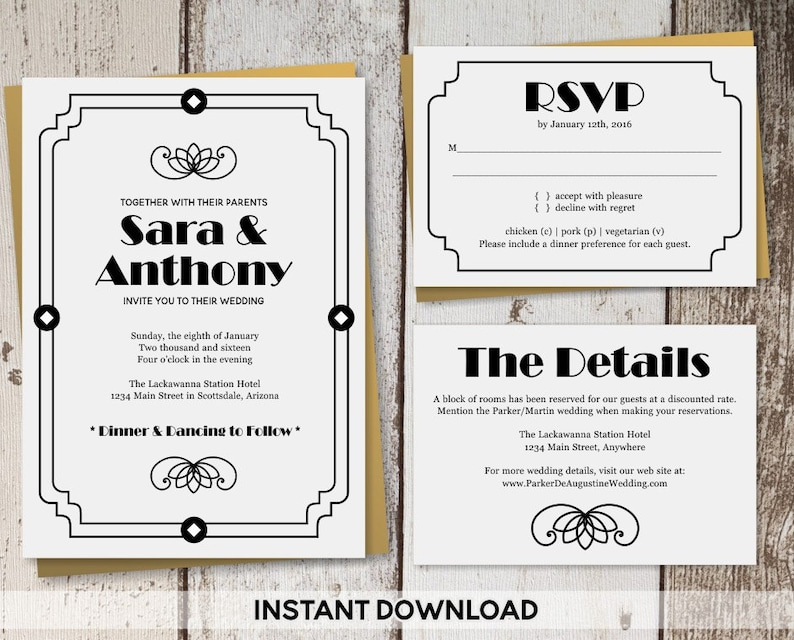 Art Deco Wedding Invitation Template Printable Roaring 20s Etsy