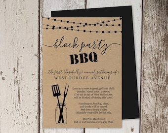 Block Party BBQ Invitation Template, Printable Neighborhood Barbeque, Business Barbecue Party Invite, Instant Download Digital File PDF