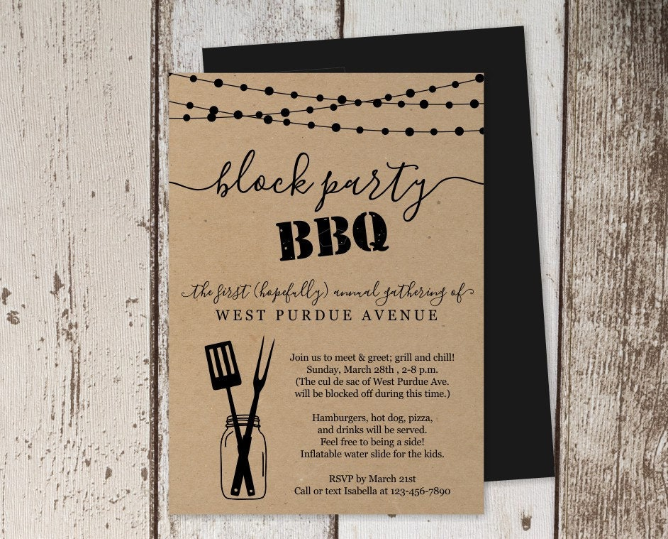 Block Party BBQ Invitation Template Printable Neighborhood