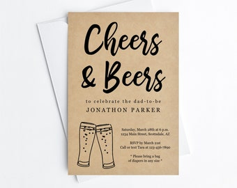 Cheers and Beers Diaper Party Invitation Template - Printable Daddy Guy Men Baby Shower Invite & Evite, Instant Download Digital File PDF