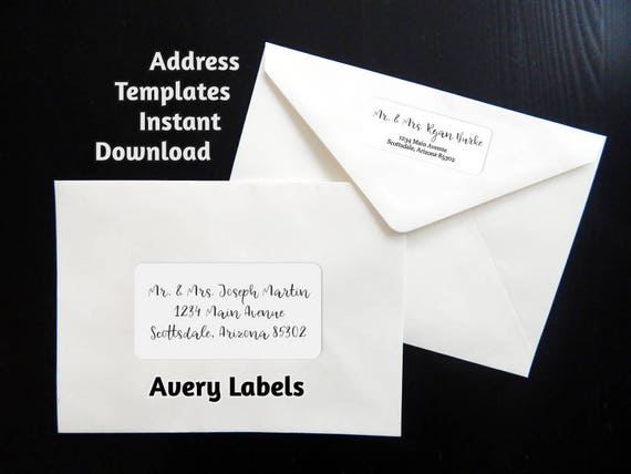Printable Address Template for Envelope Labels Avery 2 x | Etsy