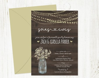 Rustic Going Away Party Invitation Template - Printable Farewell Bon Voyage Invite - Mason Jar, Lights, Wood  - PDF Instant Download Digital