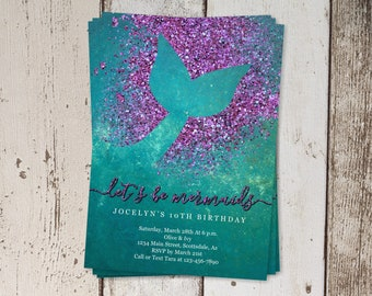 Printable Mermaid Invitation Template, Mermaid Birthday Party Invite, First / 1st Birthday Theme, Mermaid Baby Shower Instant Download File