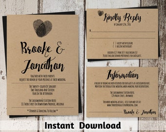Wedding Invitation Template - Fingerprint Rustic Printable Set - Kraft Paper | Editable PDF Instant Download Suite - Heart Thumb Prints