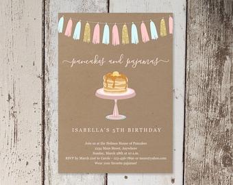 Pancakes & Pajamas Birthday Party Invitation Template, Printable Invite Evite, Girl Women Adult Theme Easy Instant Download Digital File PDF