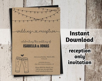 Brewery Reception Only Invitation Template - Rustic Beer Toast Printable Wedding Reception Invite  - PDF Instant Download Digital File
