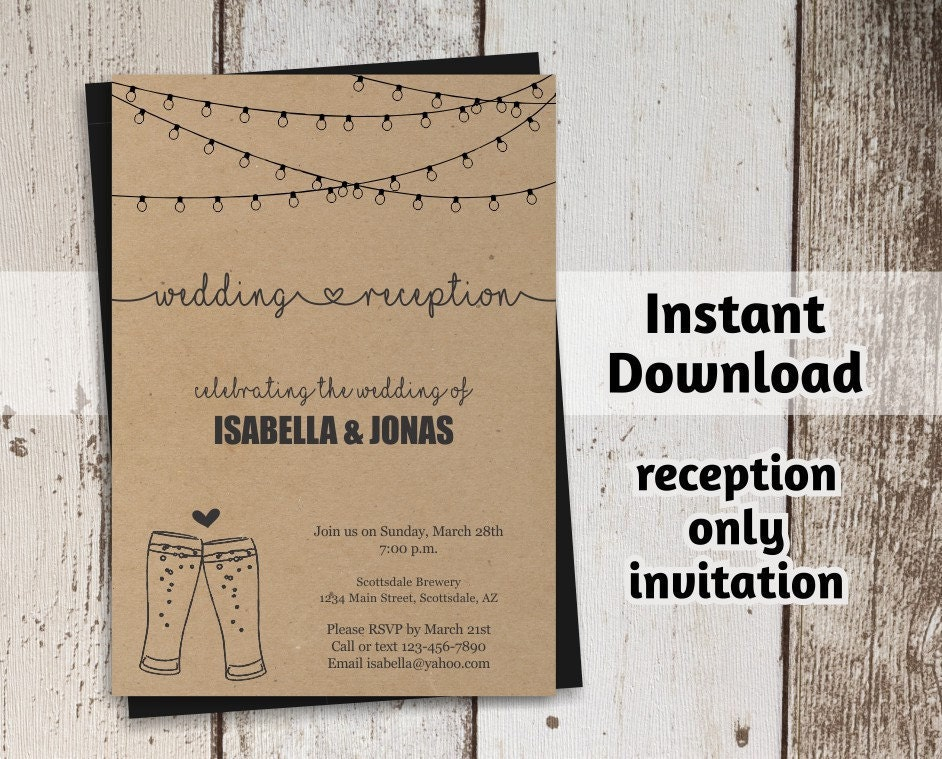 Brewery Reception Only Invitation Template