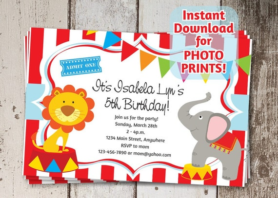 circus invitation for birthday party carnival themed invite etsy