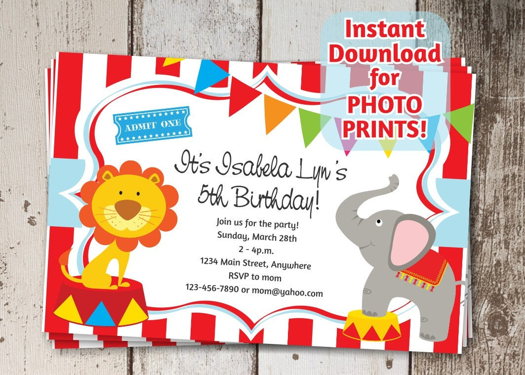 Circus Invitation for Birthday Party / Carnival Themed Invite | Etsy