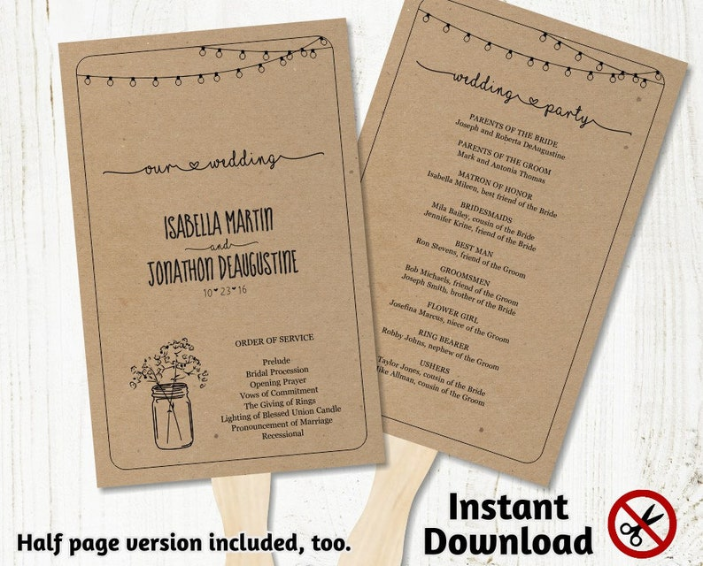 Printable Wedding Program Fan Template  Rustic Mason Jar image 0