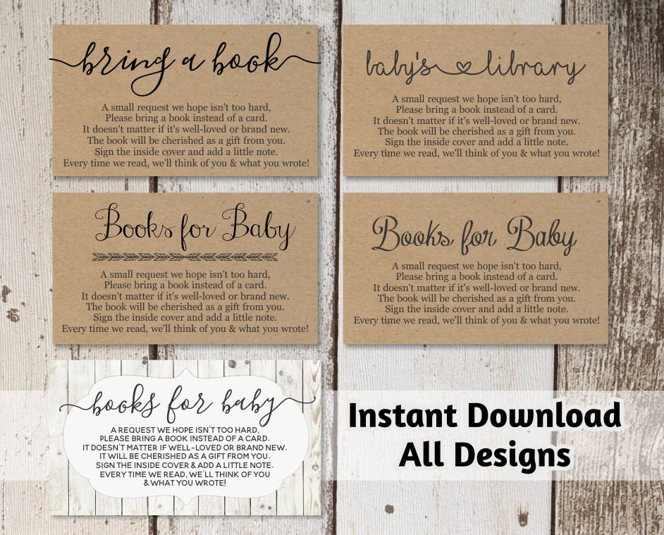 Printable Baby Shower Book Request Bring A Book Instead Of A Card