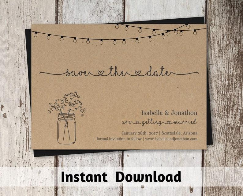 Save the Date Card Printable Template  Rustic Mason Jar & image 0