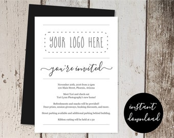 Simple Business Invitation Template, Add Logo, Printable Business Launch Announcement Networking Event Invite, Instant Download Digital File