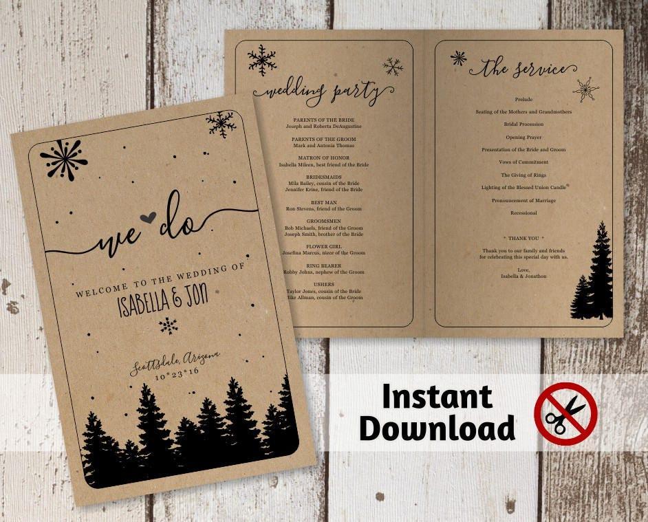 printable winter wedding program template folded program rustic