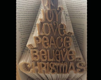 REDUCED! DIY Bookfolding pattern - 'Joy Love Peace Believe Christmas' 349 pages | Combination method* | Instant download