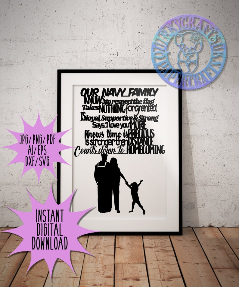 wall art jpgpngpdfaidxfepssvg Commercial Licence| Instant Download home decor Our NAVY Family papercutting template |birthday