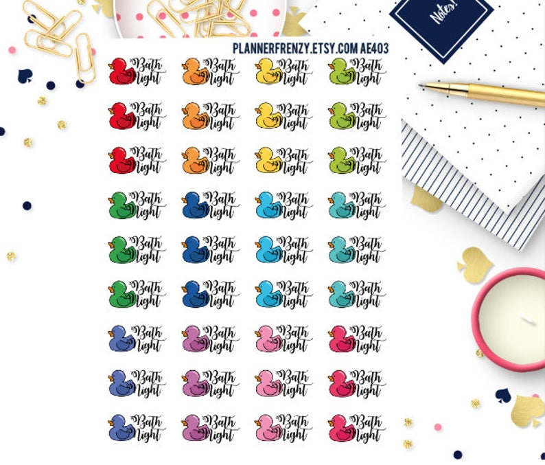 36 Bath Night Planner Stickers AE403 image 0