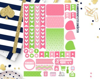 Pink and Green Collection Sampler Planner Stickers! KT319