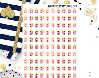 100 Small Popcorn/Movie Night Planner Stickers! LF523