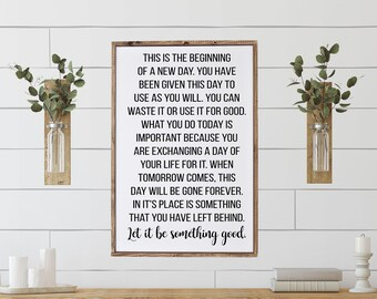 inspirational signs   this is the beginning of a new day sign   home decor sign   this is the beginning quote   motivational signs