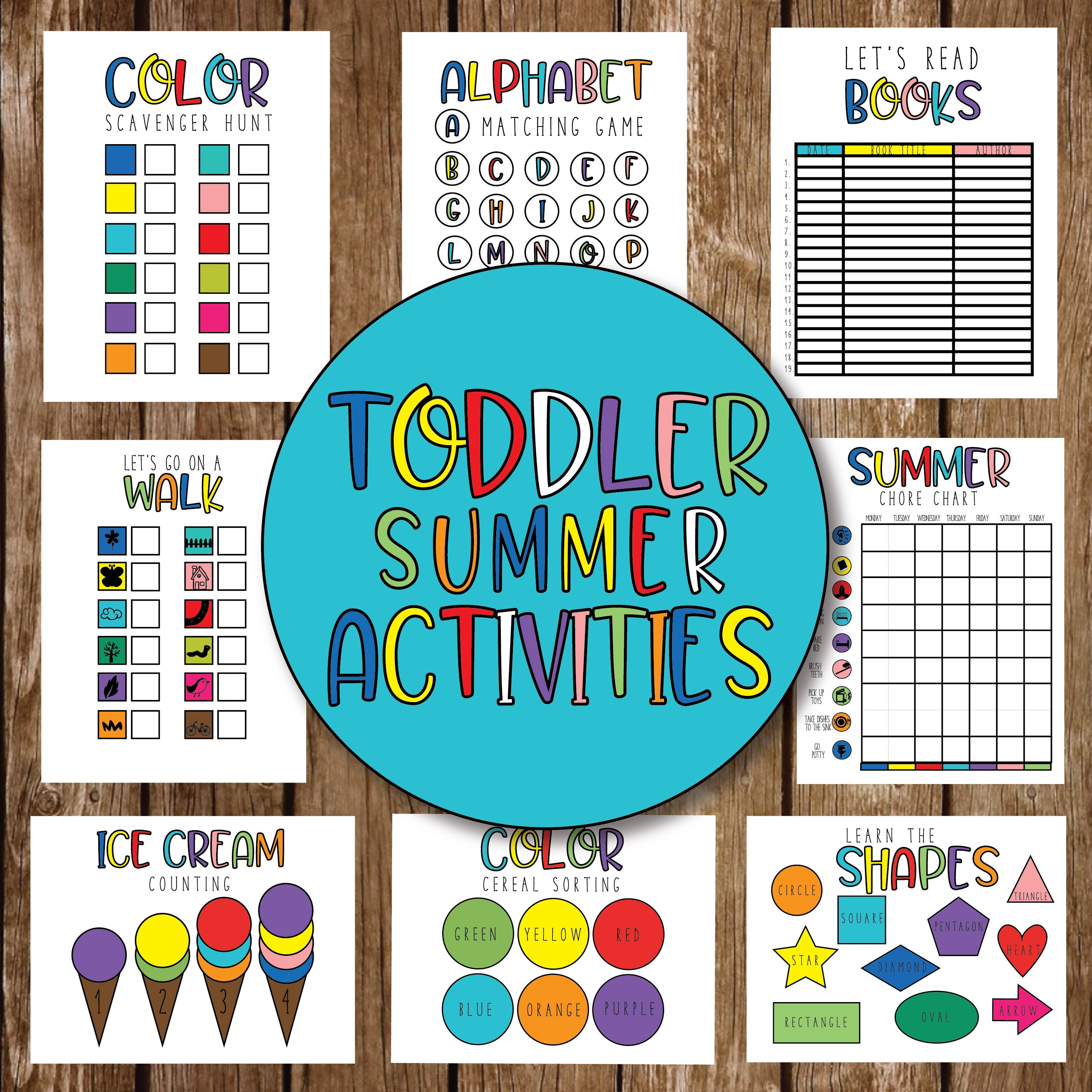 TODDLER SUMMER ACTIVITIES || Counting, Letters, Shapes, Colors, Nature  Walk, Chore Chart, Read List