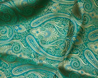 SEA GREEN Luxury Abstract Metallic Textured Brocade Jacquard Dress Fabric 1676