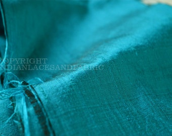 Dark Turquoise Blue Black Indian Pure Dupioni by the yard Raw Silk Wedding Party Dress Table Runner Pillow Cushion Cover Drapery Upholstery