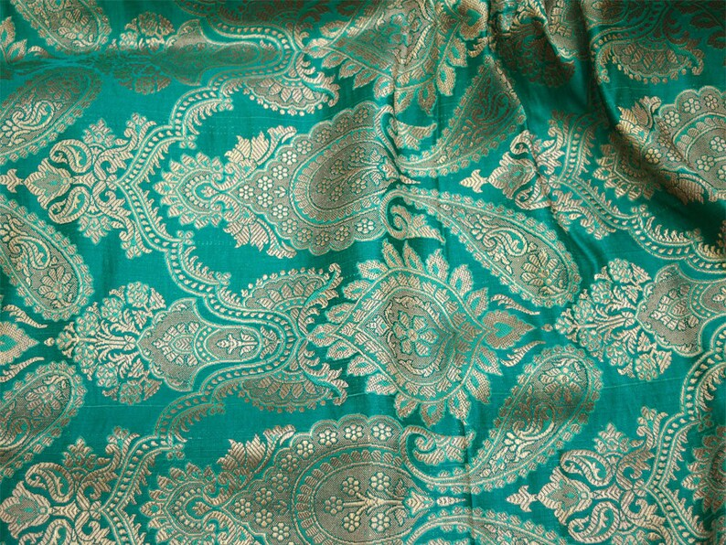 e946cee9e Sea Green Brocade Fabric Banarasi for Wedding Dress lehenga | Etsy
