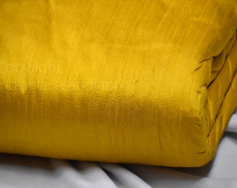 Yellow Pure Dupioni Fabric Raw Silk by the Yard Indian Wedding Dresses Pillow Covers Drapery Curtain Cushions Costume Sewing Waist Coat