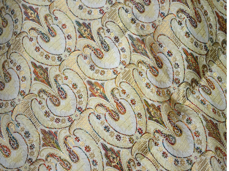 Curtain Multicolor Brocade Fabric by the yard  for Costumes Table runners Art silk fabric Indian Silk Fabric wedding dress fabric Crafting