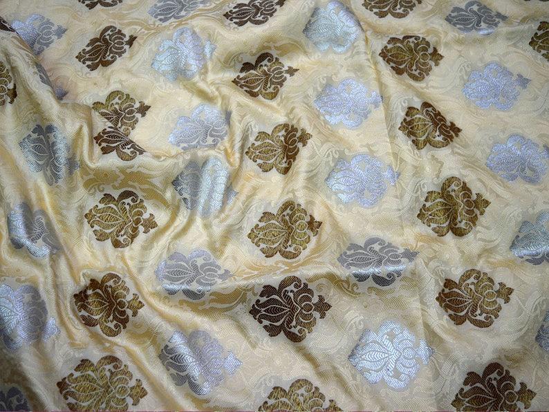 Banaras Brocade Art Silk for Wedding Dress Ivory Brocade Fabric Banarasi Brocade Fabric by the Yard