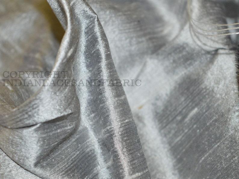 Iridescent Silver Grey Pure Dupioni Silk Fabric by Yard image 1