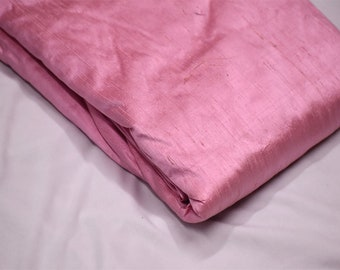Indian Dusty Pink Pure Dupioni Plain Raw Silk Fabric by the yard Dupion Wedding Evening Dress Pillow Cushion Table Covers Crafting Sewing