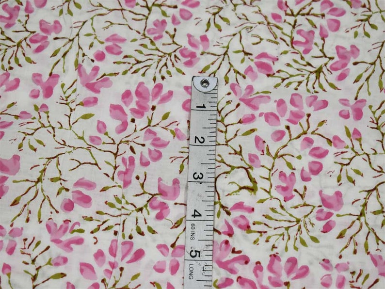 Pink Indian Floral Hand Stamped Block Printed Soft Cotton Fabric by Yard Quilting Dress making Nursery Crafting Summer Women Kids Apparels