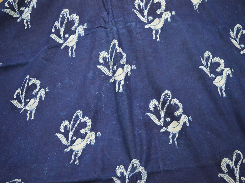 Peacock Print Indian Quilting Cotton Fabric Sold by the Yard Stamped Indigo Blue Sewing Crafting Curtains Summer Women Girl Dresses Apparels