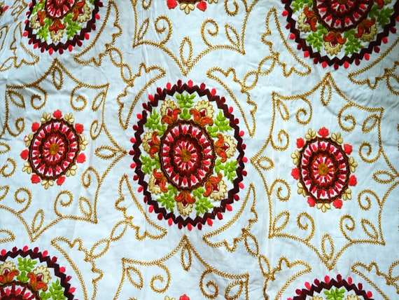 Nueva yarda 7 pantalla azul y blanco floral de la India Tela Impresa artesanías de tela de algodón