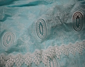 52 39 39 Mint Blue Embroidered Fabric Summer Evening Dresses Crafting Indian Cotton Fabric by the Yard Sewing Skirt Costumes Table Runners Decor